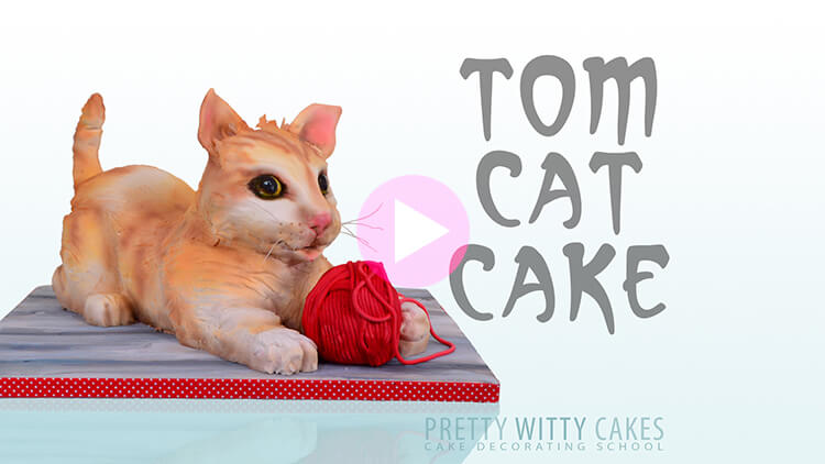 Tom Cat Cake Tutorial Preview at Pretty Witty Academy