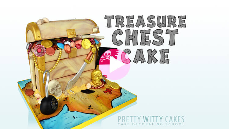Treasure Chest Cake Tutorial Preview at Pretty Witty Academy