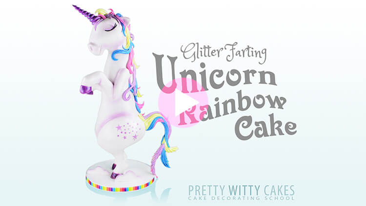 Unicorn Rainbow Cake Tutorial Preview at Pretty Witty Academy