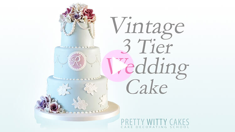 Vintage 3 Tier Wedding Cake Tutorial Preview at Pretty Witty Academy