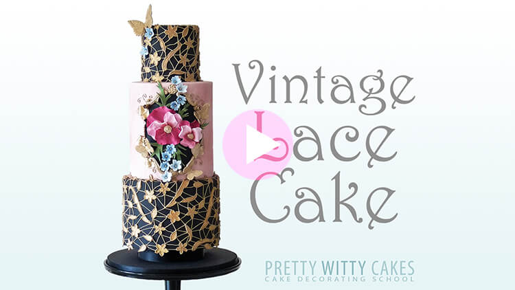 Vintage Lace Cake Tutorial Preview at Pretty Witty Academy