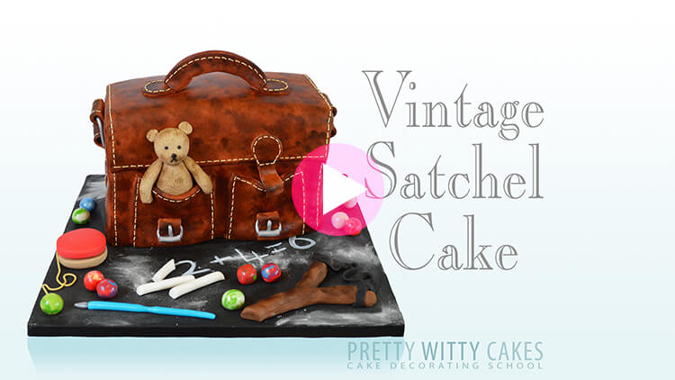 Vintage Satchel Cake Tutorial Preview at Pretty Witty Academy
