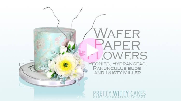 Wafer Paper Peonies Flowers Tutorial at Pretty Witty Cakes