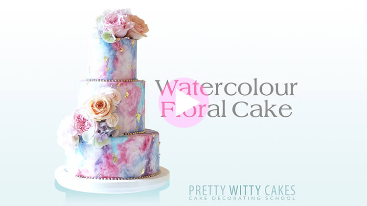 Watercolour Floral Cake Tutorial Preview at Pretty Witty Academy