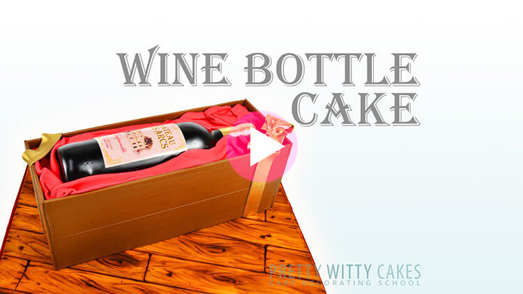 Wine Bottle Cake tutorial preview at Pretty Witty Academy