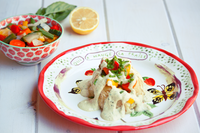 Veggie Stuffed Gold Potatoes with Tofu Sauce by Vegan À La Mode (Vegan, Gluten-Free and Nut-Free)