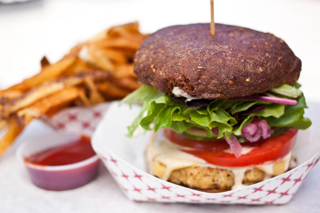 Restaurants in Portland | The Casbah vegan veggie burger from Earth Burgers in Portland
