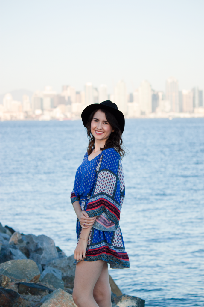 AEO scarf print dress with a felt hat