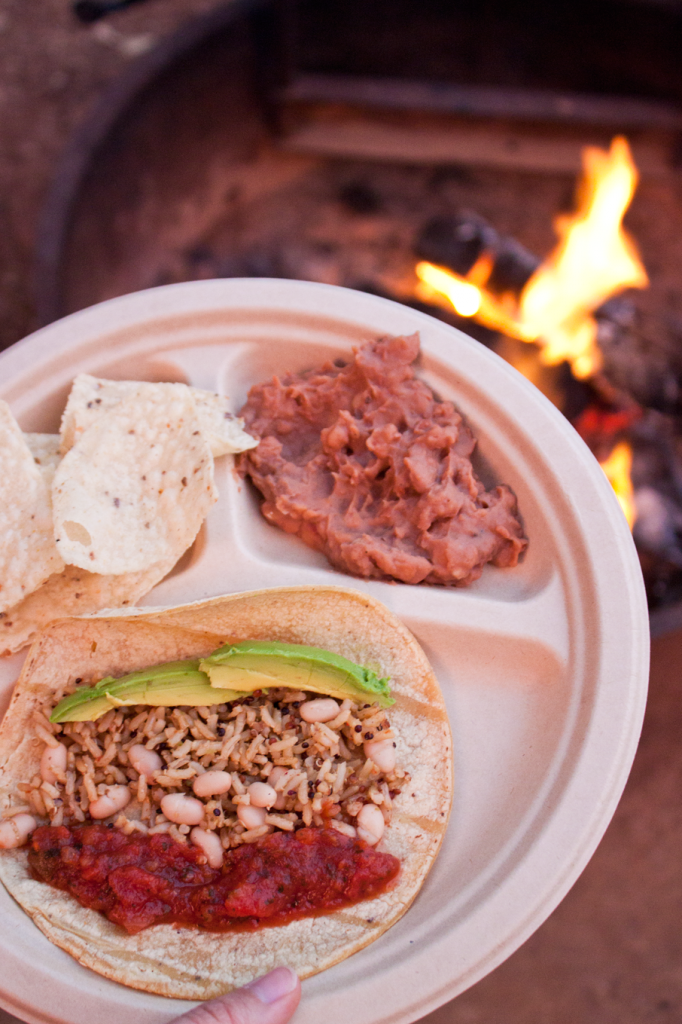 Vegan gluten-free camping meal idea; tacos with rice, beans and salsa.
