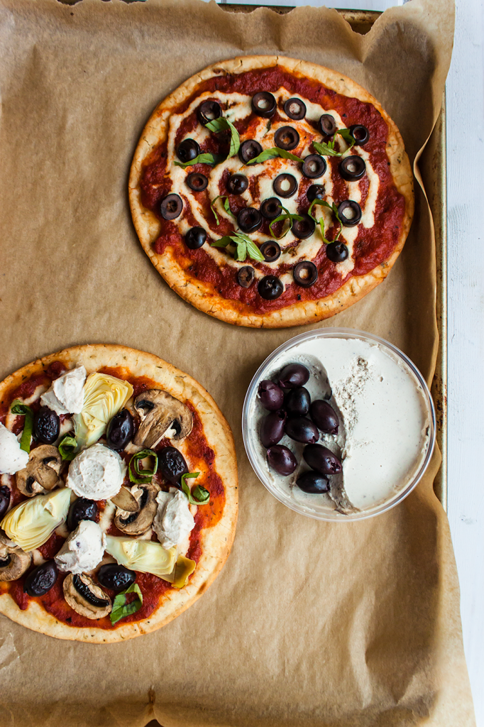 Vegan Gluten-Free Pizzas: Kalamata Olive and Cashew Cheese