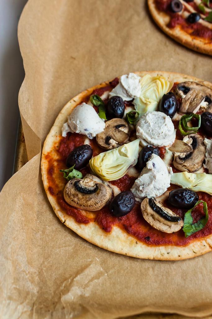 Vegan Kalamata Olive Cheese Pizzas (Gluten-Free)