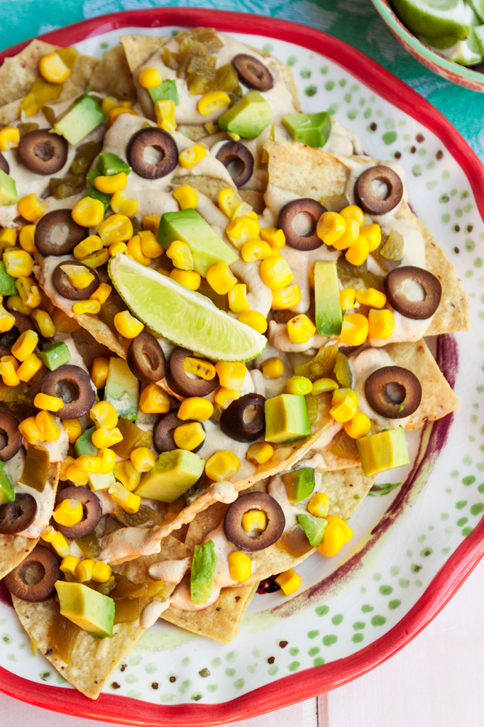 "Southwestern inspired vegan Nacho Recipe with a nut-free ""cheesy"" sauce"