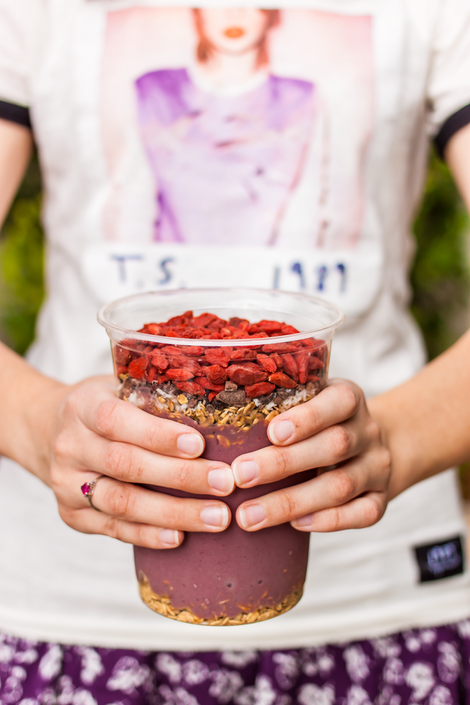 Vegan acai bowl with gluten-free granola