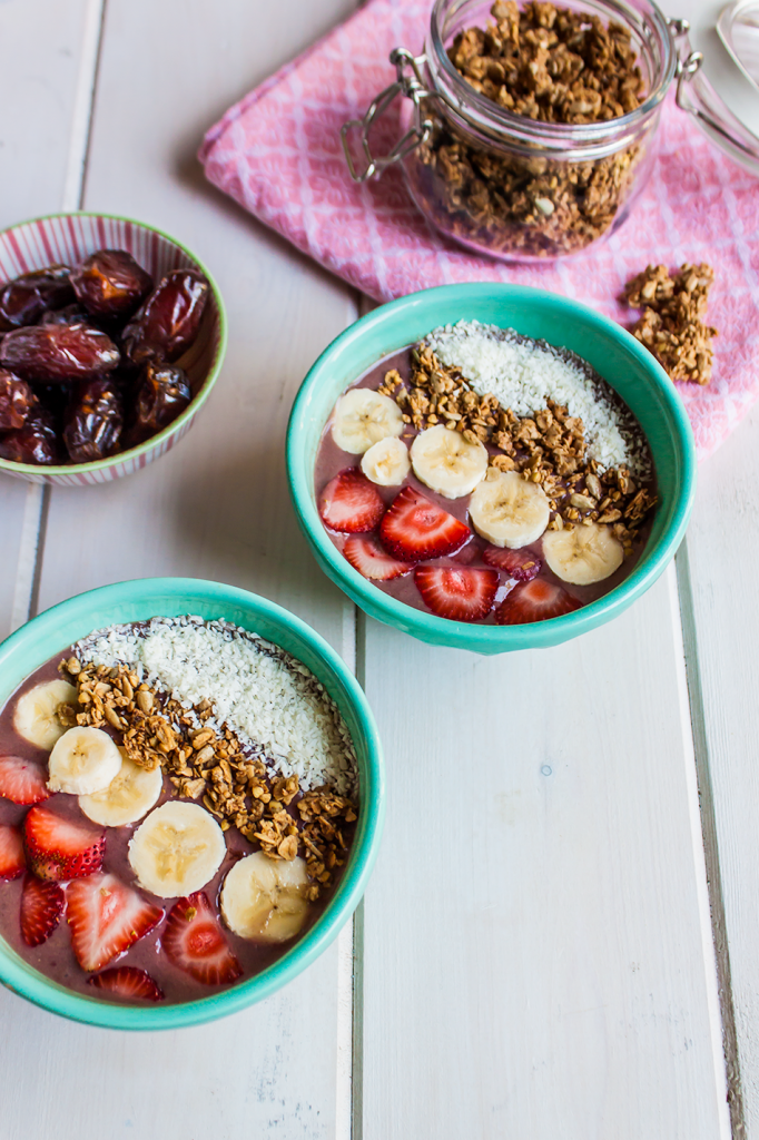 Vegan Homemade Acai Bowls with Berries and Bananas