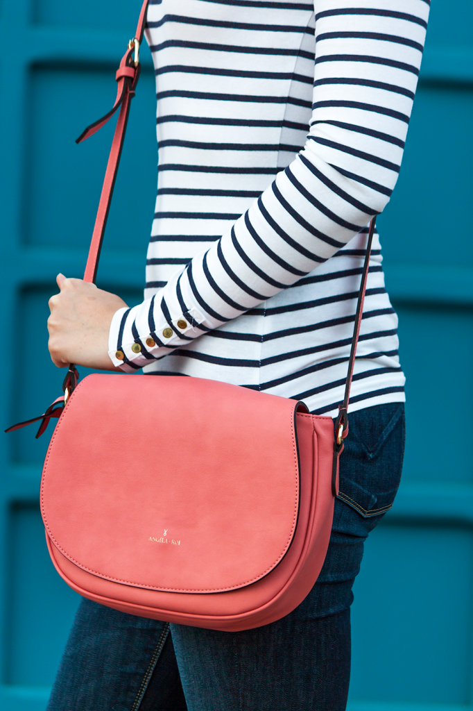 Pink vegan crossbody satchel