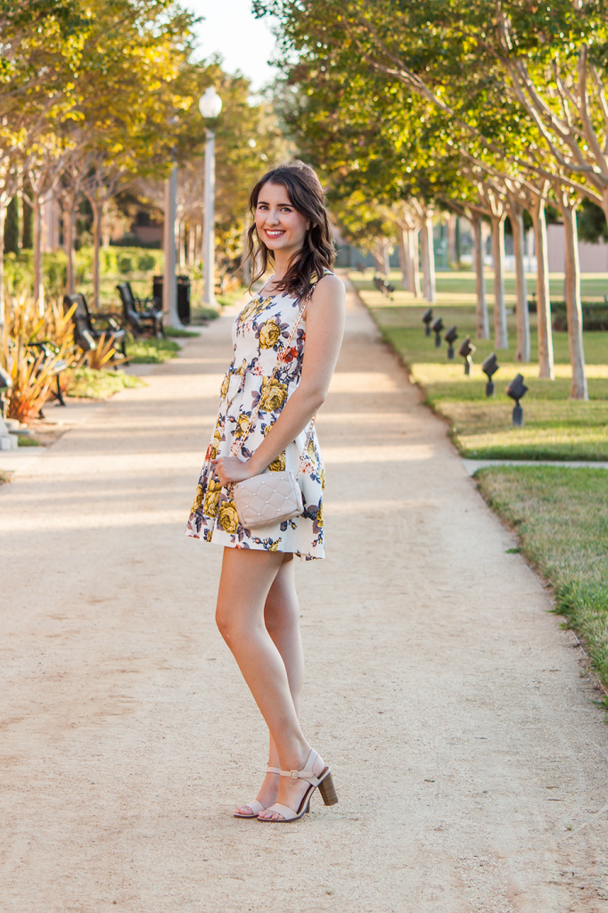 Floral dress and ankle strap sandals