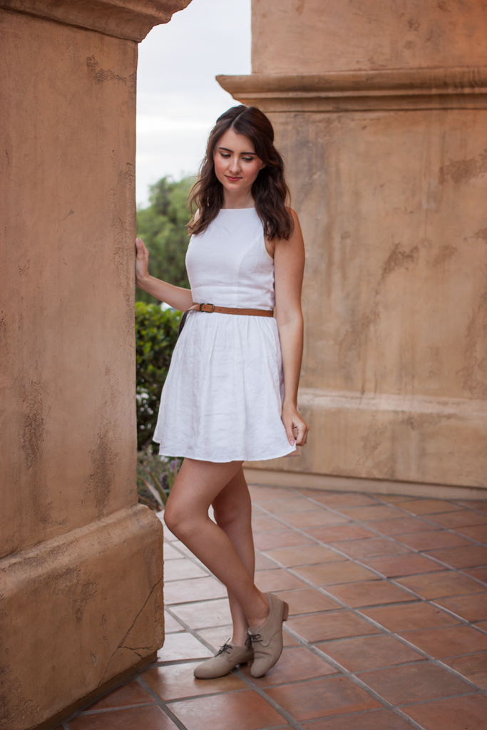 Simple white linen dress with vegan lace up flats