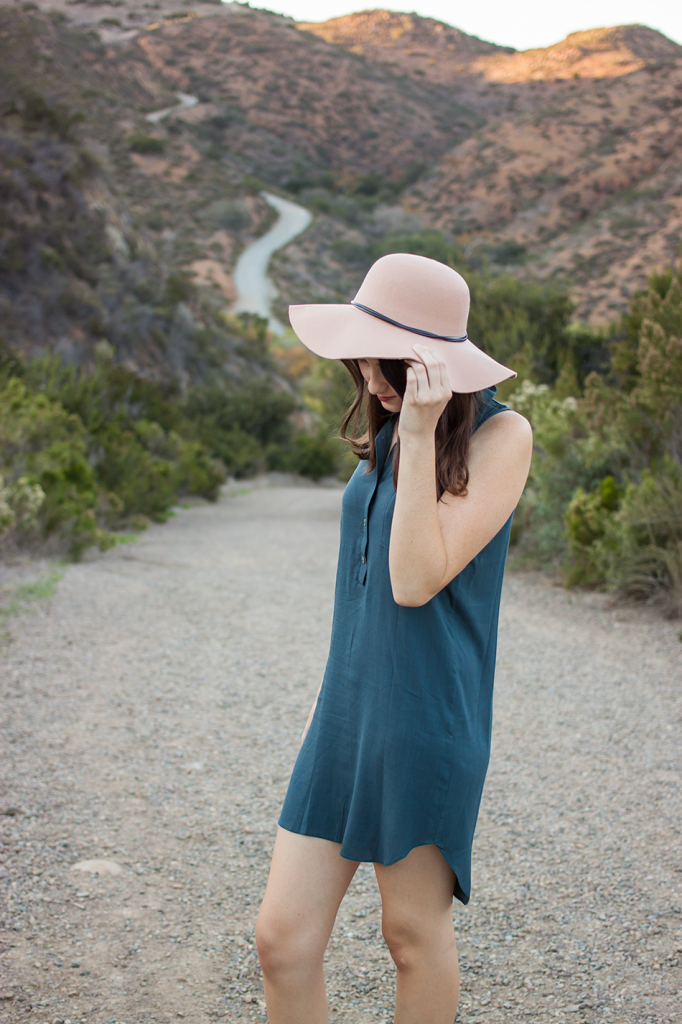Fall floppy hat with a dress