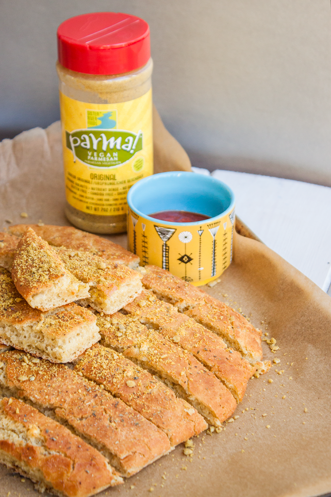Gluten-free vegan breadstick recipe with marinara dipping sauce