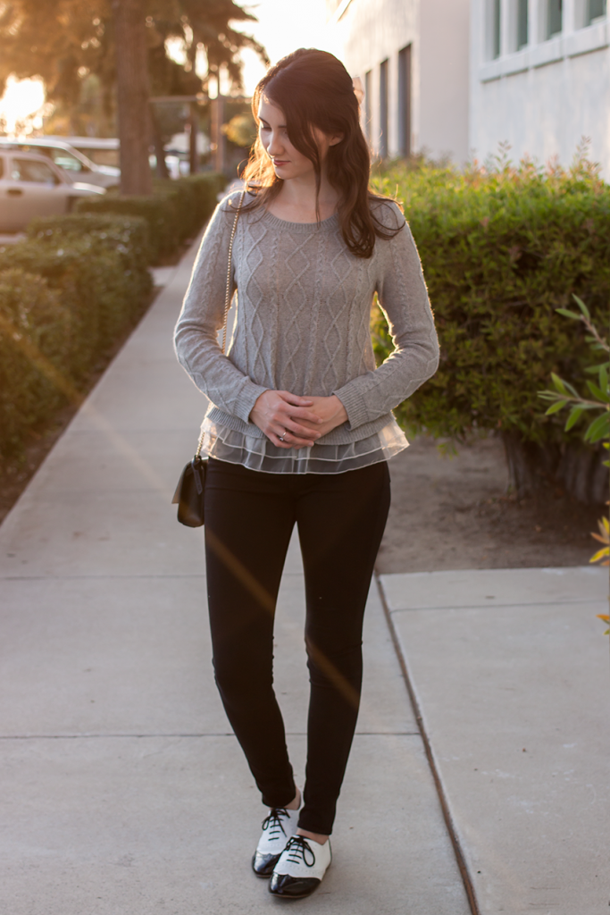Sweater, skinny jeans, and flats