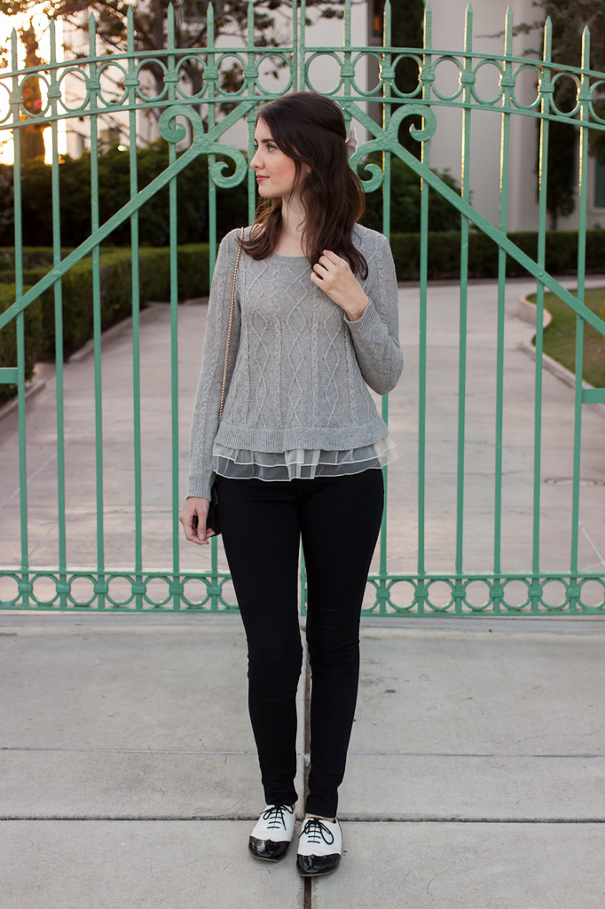 Grey sweater with colorblock flats