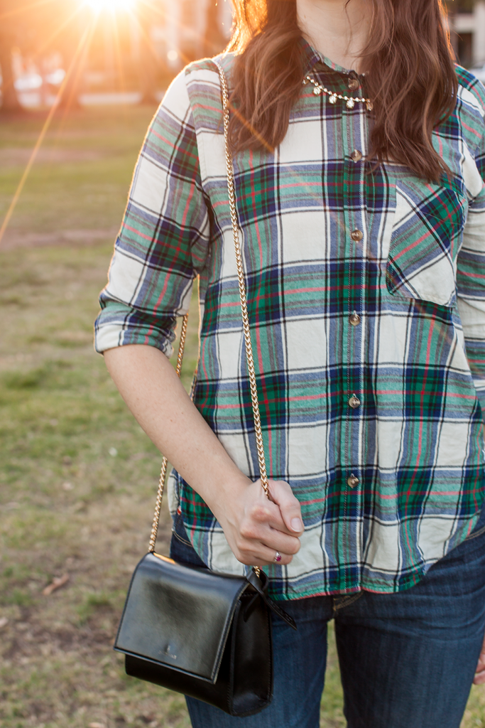 Plaid shirt with crossbody bag