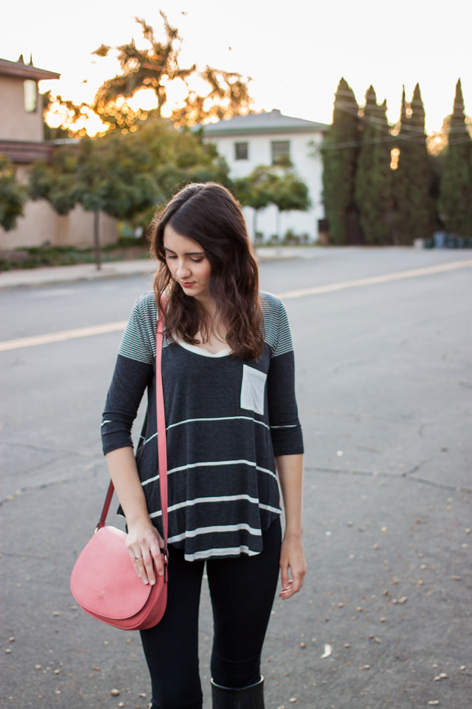 Striped anthropologie top with a cruelty-free bag