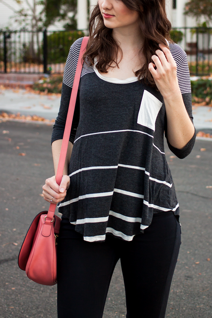 Stripe top and pink bag