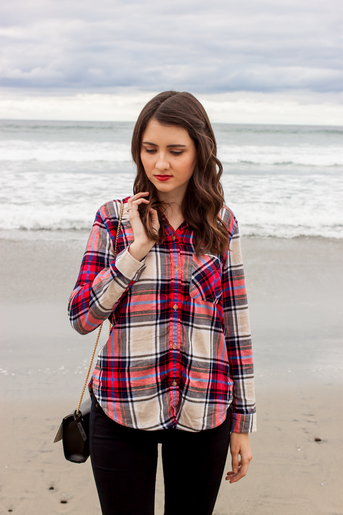 Plaid shirt at the beach