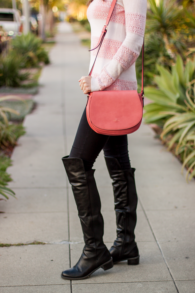 Vegan leather over the knee boots and vegan satchel