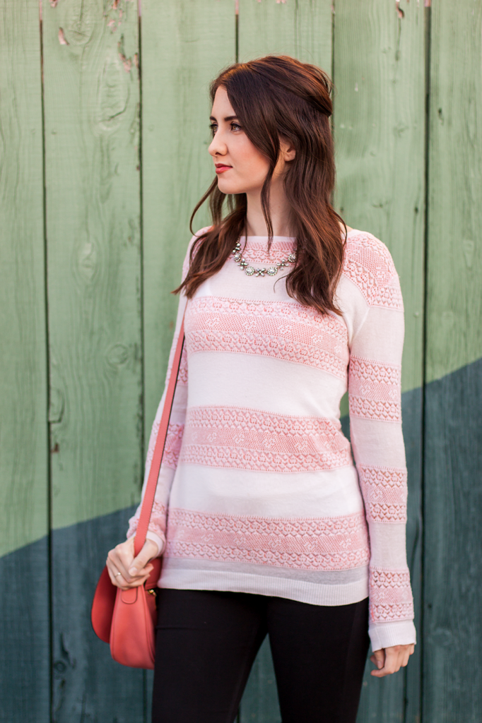 Ruche pink and white stripe sweater