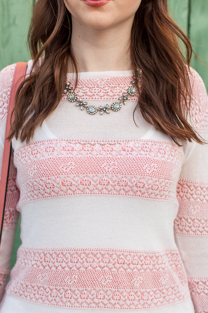 Pink and white stripe sweater with a vintage inspired statement necklace