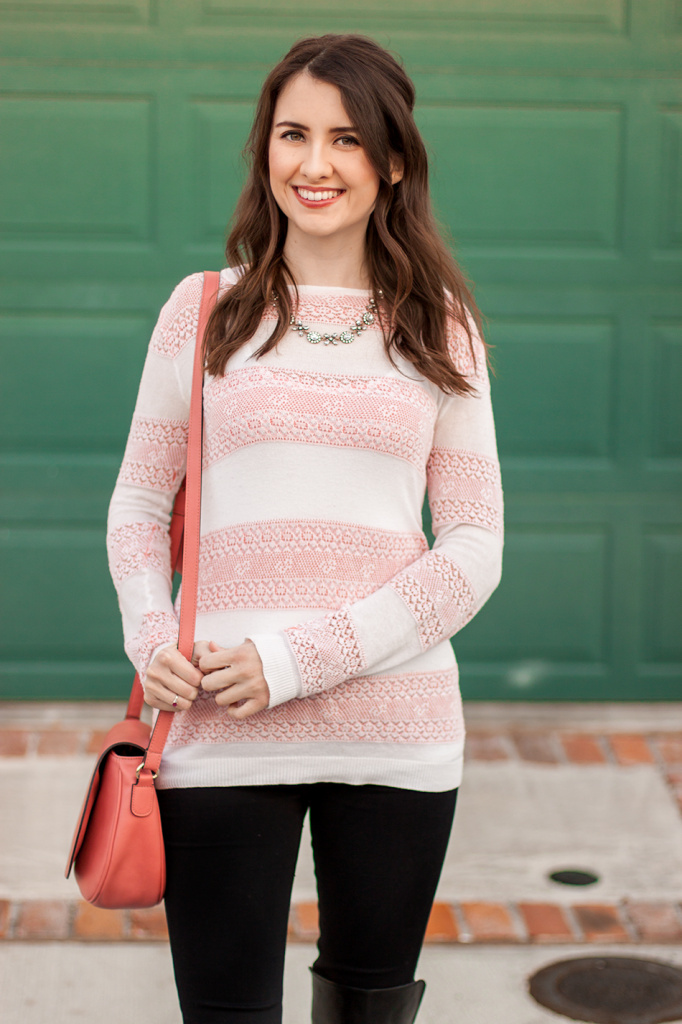 Pink and white striped cruelty-free outfit