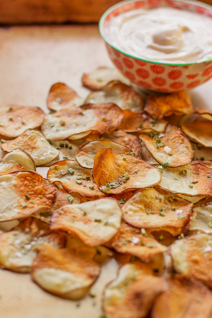 Homemade Potato Chips with Vegan Sour Cream (Vegan, Gluten-Free, Oil-Free)