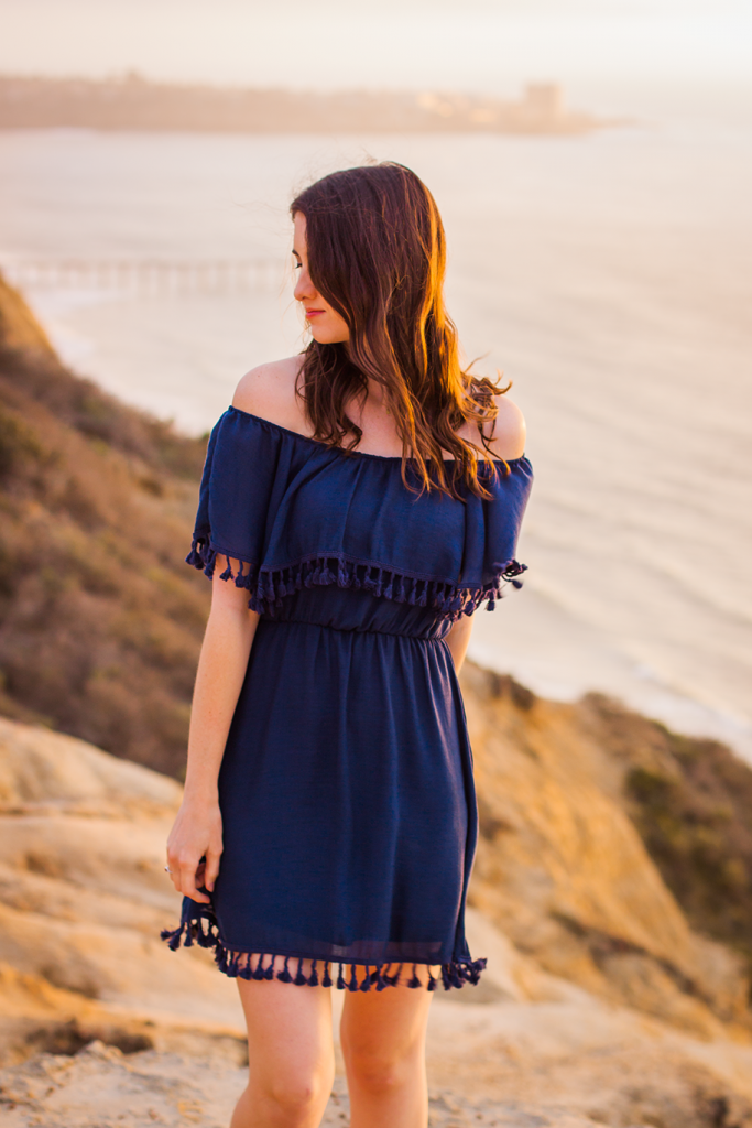 Spring floral fields outfit. Francesca's tassel off-the-shoulder dress