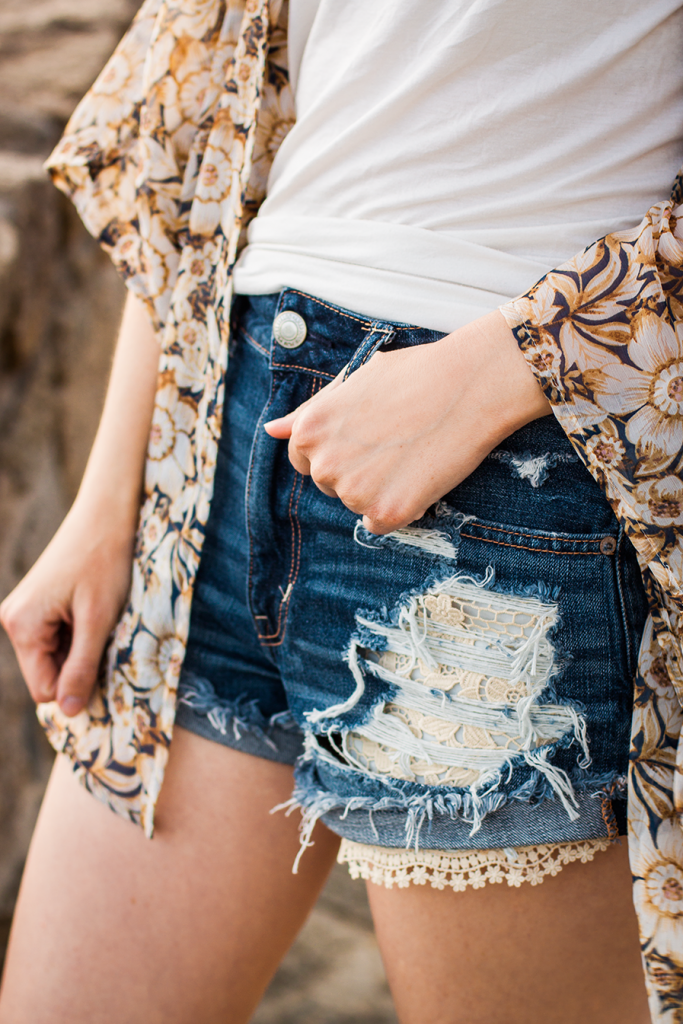 Festival style floral crochet shorts and sunflower print kimono #AEOStyle cruelty-free fashion blogger