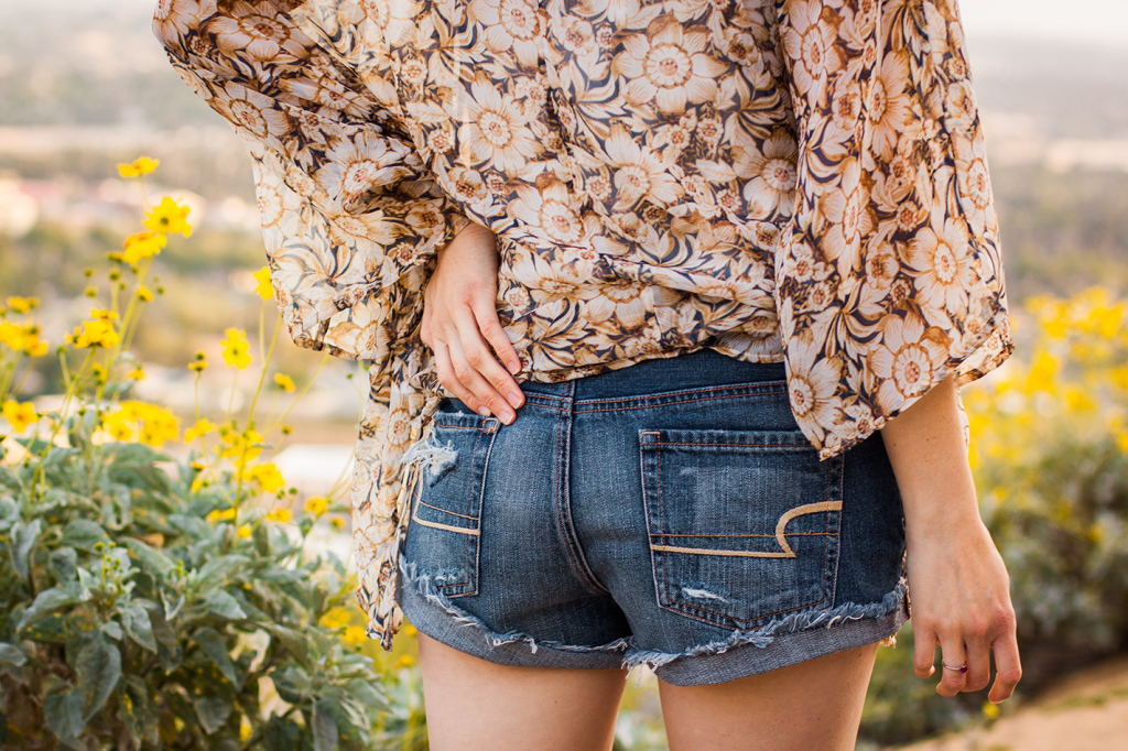 Festival style floral crochet shorts and sunflower print kimono #AEOStyle cruelty-free