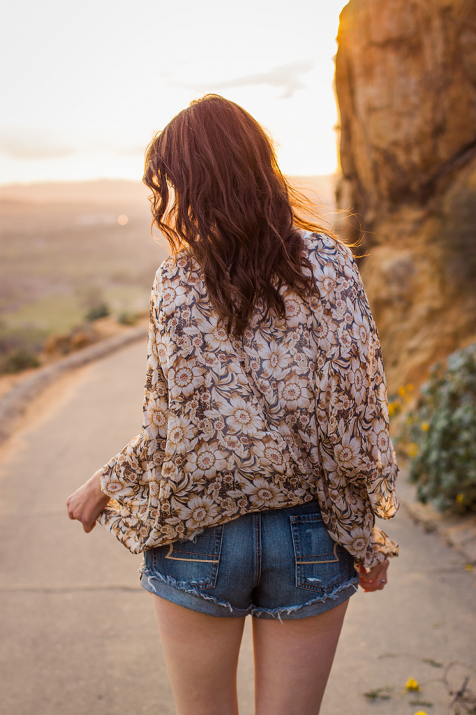 Festival style floral crochet shorts and sunflower print kimono #AEOStyle