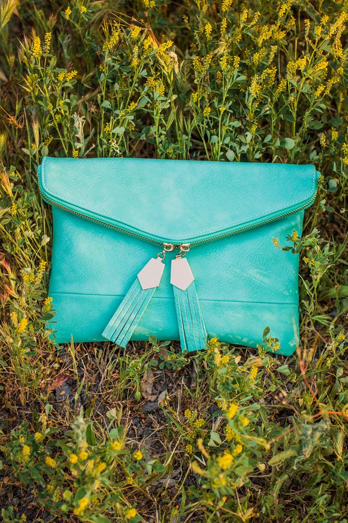 Urban Expressions Turquoise Tassel Crossbody Vegan Bag