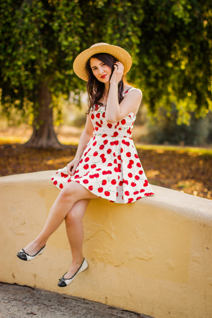 Sun Dress | Cherry Print | ModCloth Dresses | Boater Hat | Retro Dress | Vintage | Vegan Fashion | Cruelty-Free Fashion | 50s Dress