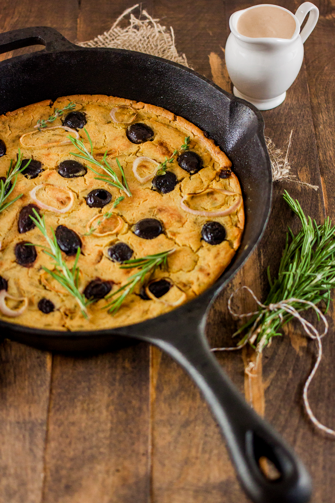 Vegan Gluten-Free Greek Farinata with Olives, Rosemary, and Thyme Recipe