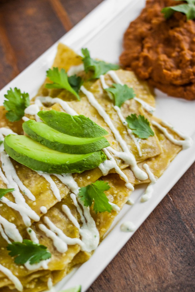 Vegan Chilaquiles Recipe with Cashew Cream and Salsa Verde