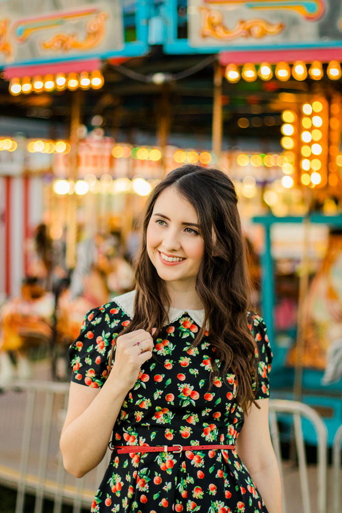 Strawberry Print Dress | ModCloth | Summer | Vintage | Dress | Floral | Urban Outfitters | Fashion | Cruelty-Free | Outfit | Dress | Peter Pan Collar | Merry Go Round | Carousel