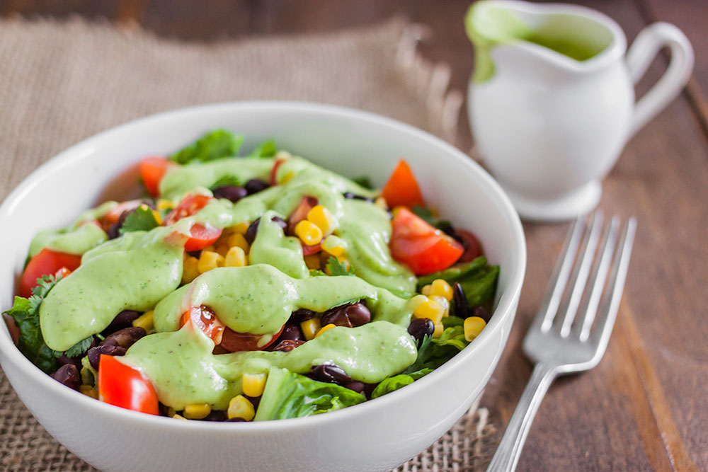 Vegan Black Bean and Corn Salad Recipe with Creamy Avocado Dressing