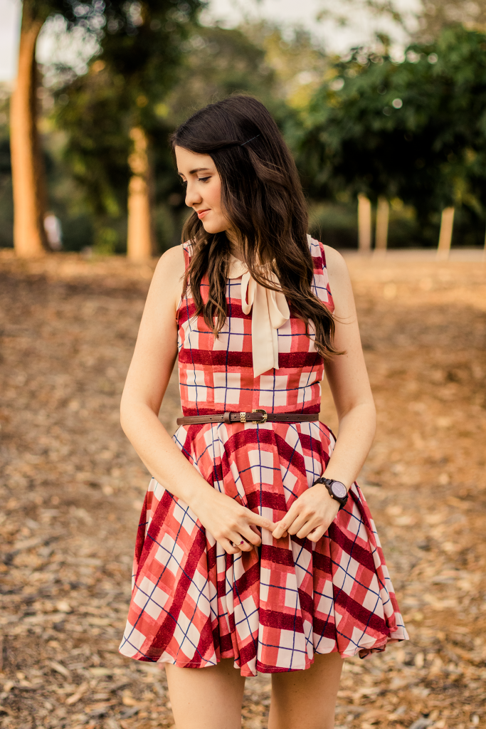 Wood watch with a pink plaid peter pan collar dress and brown skinny belt