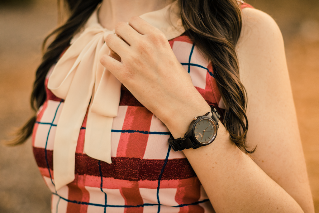 Pink Plaid Dress with a Peter Pan Collar, Skinny Brown Belt, and Brown Wood Watch