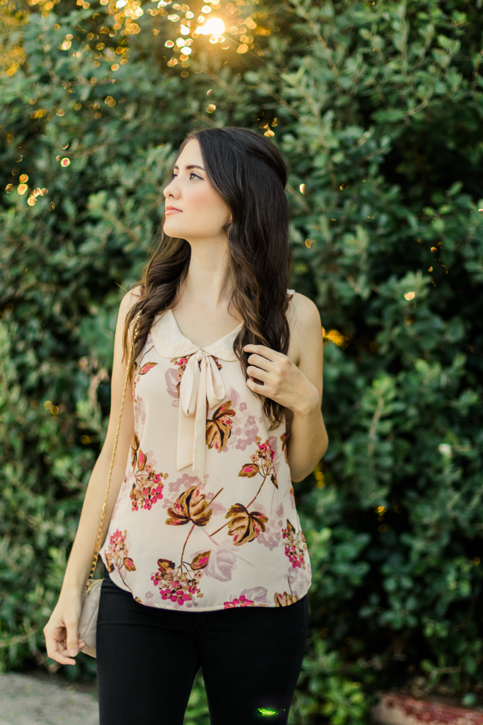 LC Lauren Conrad | ModCloth | Retro | Chic | Pink | Fall Floral | Blouse | Bow | Ribbon | Tie Neck | Peter Pan Collar | Summer | Vintage | Floral | Fashion | Cruelty-Free | Outfit