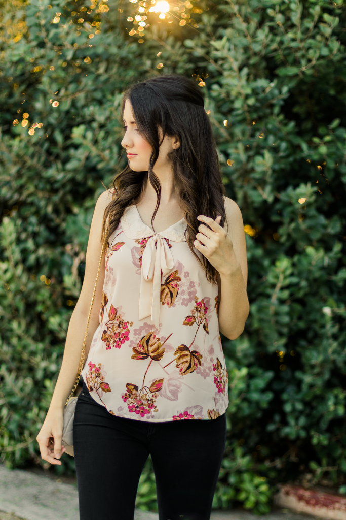 LC Lauren Conrad | ModCloth | Retro | Chic | Pink | Fall | Blouse | Bow | Ribbon | Tie Neck | Peter Pan Collar | Summer | Vintage | Floral | Fashion | Cruelty-Free | Outfit