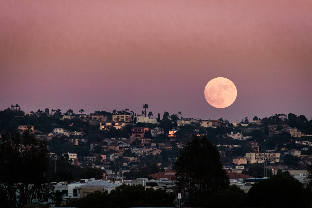 Supermoon rising over Point Loma