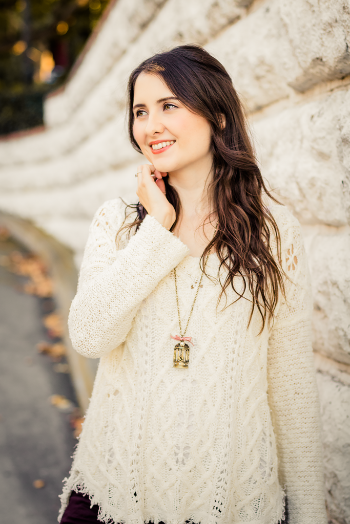Cruelty-Free Vegan Cable Knit Sweater with a Bird Necklace
